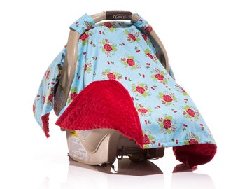Girl Carseat Canopy, Aqua Carseat Canopy, Car Seat Cover, Vintage Rose, Red and Aqua Red Minky Spring Floral