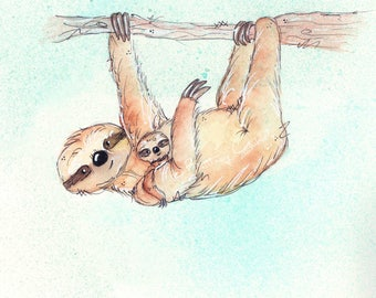 Mother and Baby Sloth Fine Art Print