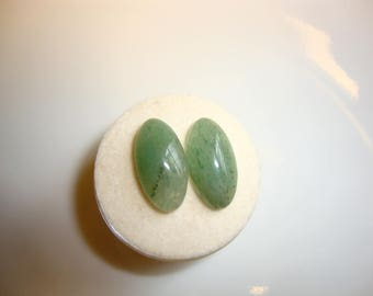 Pair of Green Aventurine Cabochons Cabs  - 8x15mm Marquise cut -- TWO Pieces 15x8 - Luck, Opportunity, Prosperity, Success--- Aries & Leo