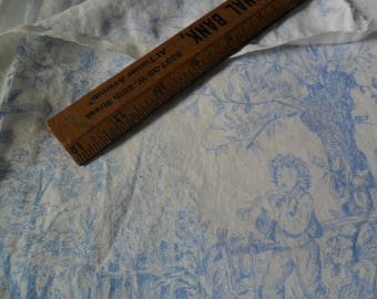 "Vintage Timeless Treasures Cotton light Blue Toile Fabric 1 yard x 40"" width"
