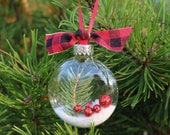SALE!!! Natural Pine Woodland Glass Disk Ornament, Glitter Berry, Black Red Plaid Ribbon, Sealed, Preserved, Christmas Holiday Tree Decor