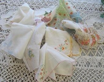 8 Lovely Vintage Hankys, Handkerchiefs