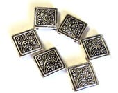 """6 Square Flourish Antique Silver Slider Beads,  Jewelry Supplies, 3/4"""" Bracelet Components, 4 Loop Findings"""