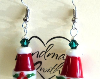 """Red White Green Santa Hat Pierced Dangle Earrings, Swarovski Crystals, Silver Ball Coil Earwires, 2"""", Gift for Her, Christmas jewelry"""