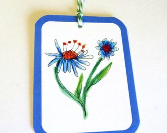 8 Gift Tags, White Blue Funky Flowers, Merchandise Tags, Party Favor Tags