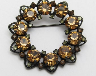 Rhinestone Wreath Brooch Gold Jewelry Joseph Warner P7562