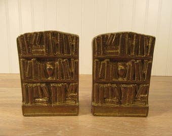 Pair of vintage metal bookshelf brass bookends, weighty, solid, nice condition
