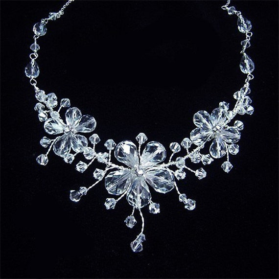 Crystal Floral Bridal Necklace - Clear Rhinestone  Clear Rhinestone Vine Flower Wedding Jewelry for Brides and Bridesmaids