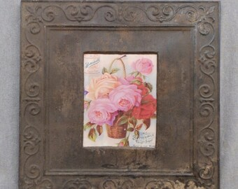 TIN CEILING Rust Metal Picture Frame 8x10 Shabby Recycled chic 524-16