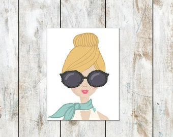 Portrait Stationery - Cotton Stationery - Blonde Bun Messy Hair and Big Sunglasses - Beach Stationery