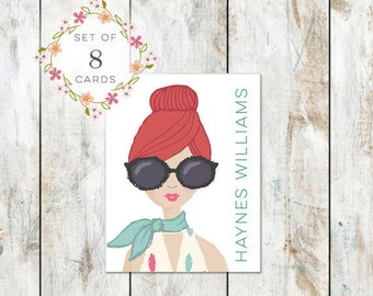 Set of 8 Portrait Stationery with Printed Name -Cotton Stationery - Red Hair and Big Glasses Stationery Folded Cards