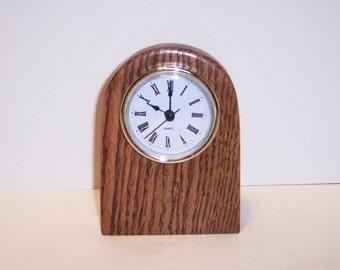 Desk Clock Handcrafted in Oak Hardwood With a Quartz Movement.
