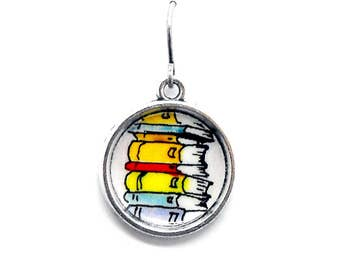 Book Stack Earrings Bookish Literary Themed Jewelry