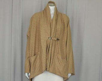 Camel stripe clutch coat, swing coat, pure wool pinstripe