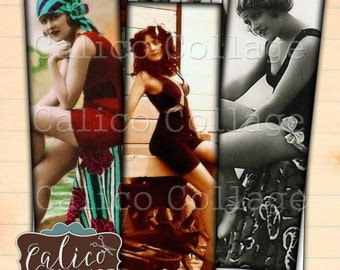 Bathing Beauties, 1x3 Digital Collage, Printable, Collage Sheet, Printable Summer, Instant Download, Microslide Images, Microscope Collage