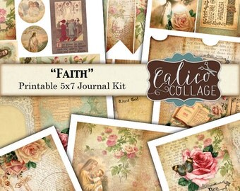 Faith Journal Kit, Prayer Junk Journal, Instant Download, Vintage Bible, CalicoCollage, Printable Ephemera, Bible Verses, Altered Art Kit