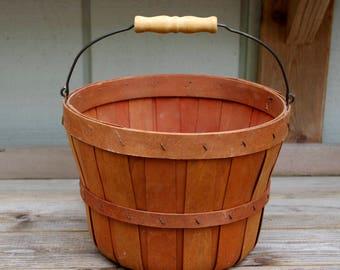 Vintage Split Wood Fruit Basket With Handle