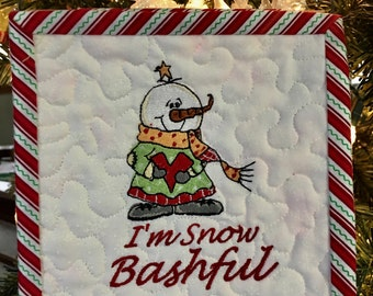 Embroidered iI'm SNOW BASHFUL Mini Quilted Wall Hanging
