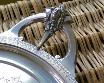 Gorgeous Vintage Monogrammed Gorham Silver Plate Tray