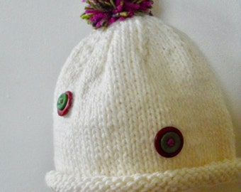 Little Girls Hat Hand Knitted White Hat Pretty Hat Girl's Beanie Winter Dress up Hat