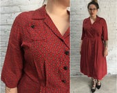1940s red rayon dress / 40s rayon dress / red with paisley print / vintage plus size dress rockabilly day dress