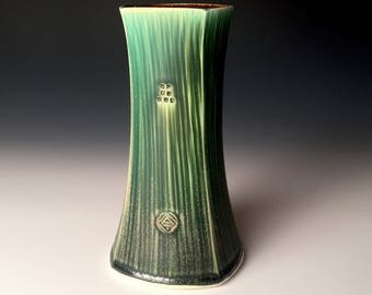 Square Vase - Dark Green