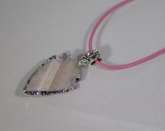 Gemstone Jewelry - 36mm Jasper Arrowhead on a Leather Cord Necklace - UNISEX