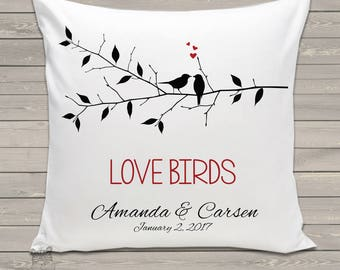 Love birds on branch custom throw pillow with removable pillow case - great wedding, housewarming, or holiday gift PIL-092