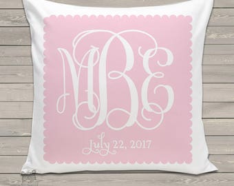 Custom monogram throw pillow and pillowcase made to match bedroom colors PIL-047