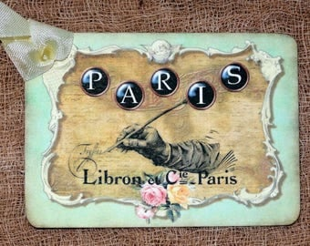 French Paris Handwriting Gift or Scrapbook Tags or Magnet #93