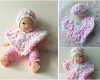 11 inch Baby Doll Clothes, Doll Poncho and Hat, Crochet Doll Clothes, Pink & White Doll Set, Fits La Baby 11 inch Dolls design by Berenguer