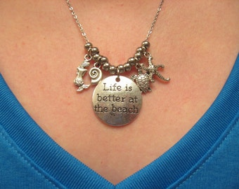 Silver Life is Better at the Beach Pendant Necklace with Mermaid Shell Turtle Starfish Charms