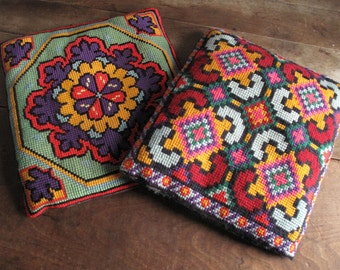 Vintage 1970s Needlepoint Pillows