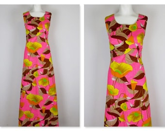 Vintage 1960s Alfred Shaheen Hawaiian Princess Maxi Dress, Sz M