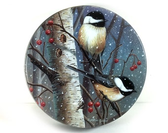 Vintage Round Metal Tin - Winter Chickadees
