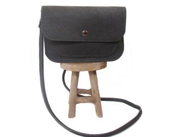 grey leather shoulder bag screenprint firefly