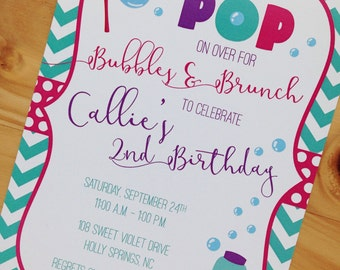 Bubble Party Invitation | Bubble Theme Party Invitation | Bubbles Birthday Invitation | Digital Download