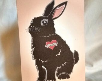 Custom Bunny Tattoo Greeting Card