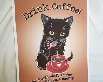 Coffee Black Cat - 8x10 Eco-friendly Print