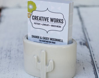 white Cactus vertical business card holder