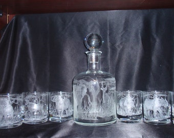 Custom order for James.  African Big Five decanter with six glasses.