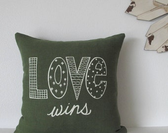 Pillow Cover - Love wins - 12 x 12  inches - Choose your fabric and ink color - Accent Pillow