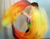 Veil poi voi Tribal Fire scarves pair hand dyed with swivel chain and loops ready to ship