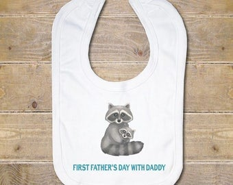 Father's Day Baby Bib, Baby Bib, Burp Cloth, Baby Shower Gift, First Father's Day, Baby Girl, Flowers, Father's Day Gift, New Dad, Raccoons