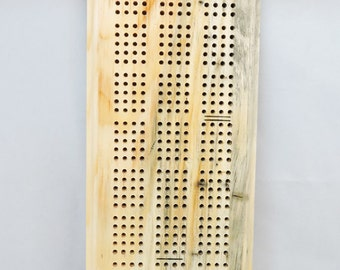 Cribbage Board - FREE Shipping - 2 to 4 Player Player - Complete with pegs, cards, storage bag - Beetle Kill Pine Wood