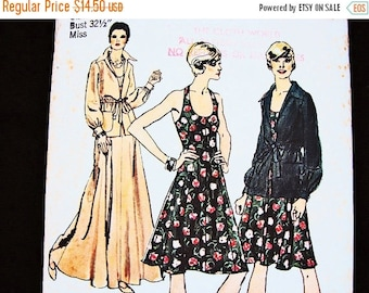 20% off SALE 1970s Halter Dress Pattern UNCUT Misses size 8 Womens Maxi Halter Dress with Jacket Vintage Sewing Pattern 70