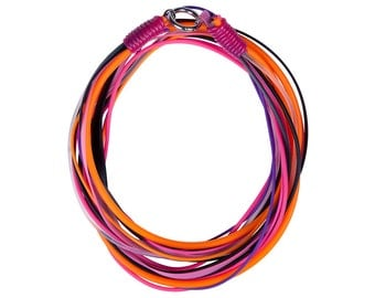 multi strand rubber necklace in fuchsia,  black, Celosia Orange  and Violet Tulip