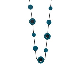 peacock blue and black necklace, teal green resin jewelry,  modern gift for her, Australia
