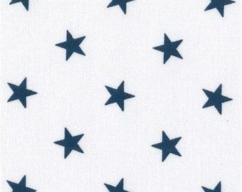 211400 white Robert Kaufman navy blue star fabric Sevenberry Classiques