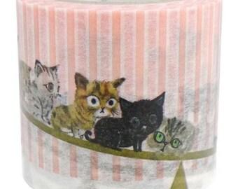 210881 stripe cat see saw Washi Masking Tape deco tape Shinzi Katoh